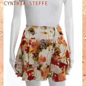 CYNTHIA STEFFE Silk Red/Peach Floral Ruffle Skirt
