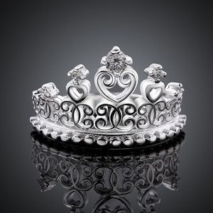Sterling Silver Plated Crown / Tiara Ring w/ CZ