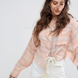 Xs Free People plaid button up