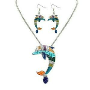 Silvertone Colorful Oil Drip Dolphin Necklace Set