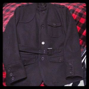 H&M black wool belted military winter jacket XL