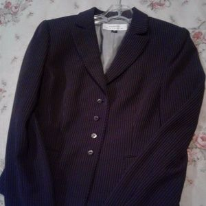 Tahari by Arthur S Levine brown pinstriped jacket