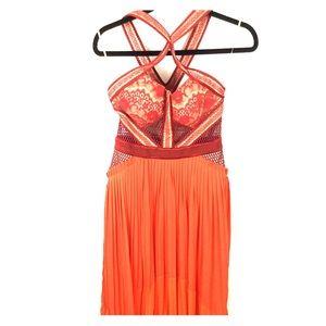Unique Red & Orange Lace Three Floor Dress Sz: 4