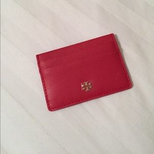 Red Tory Burch Robinson Slim Card Case