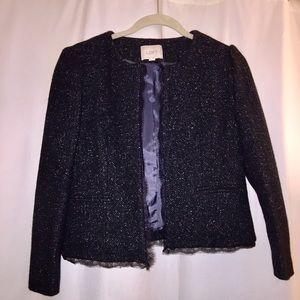 Ann Taylor LOFT Tweed & Lace Trim Open Jacket