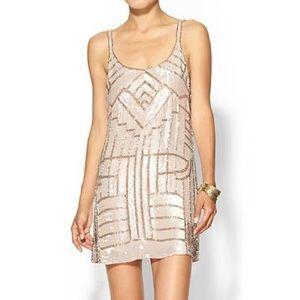 Parker Beaded Hayden Dress Medium in Blush