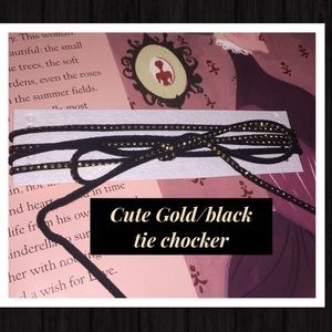 NWT Cute Gold and Black tie chocker necklace