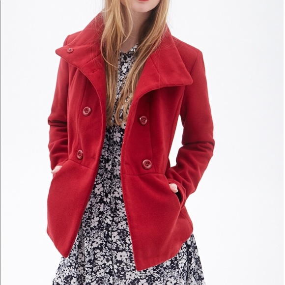 606a919ea44 Forever 21 Jackets   Blazers - Forever 21 red pea coat
