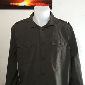 Men's - H&M Army Green Long Sleeve Button Down