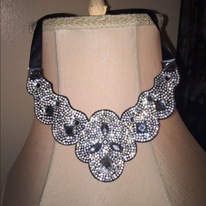 Bling necklace with satin tie