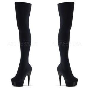 Shoes - Velvet Thigh High Boots High Heel Platform Shoes