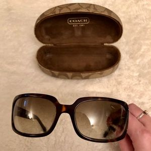 COACH tortoise sunglasses with studded handle