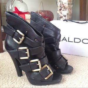 Black Peep Toe Booties by ALDO