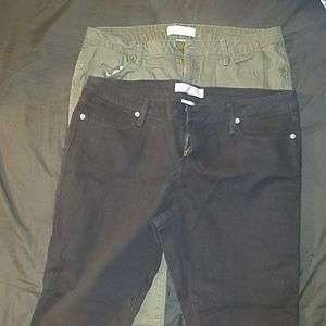 Army green and black jeans