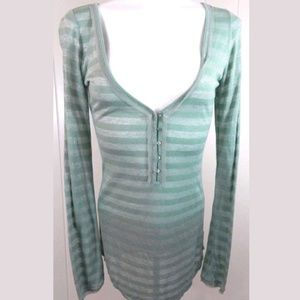 Intimately Free People Sheer Striped Henley Top