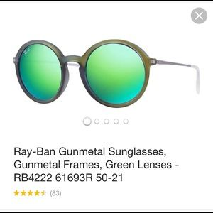 Ray-Ban#4222 round Olive w/green mirror lenses