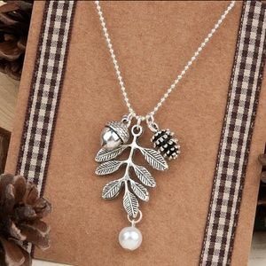 Leaf, Acorn, Pinecone & Pearl Charm Necklace