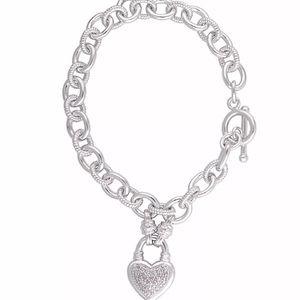 🎁 1/4ct TDW Diamond Heart Link Charm Bracelet