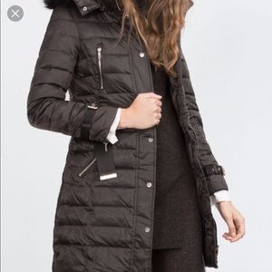 Zara puffer with fur hood