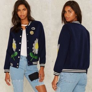 Nasty Gal Floral Arrangement Sequin Bomber Jacket