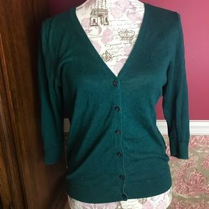 Emerald Green Cardigan with 3/4 Sleeves