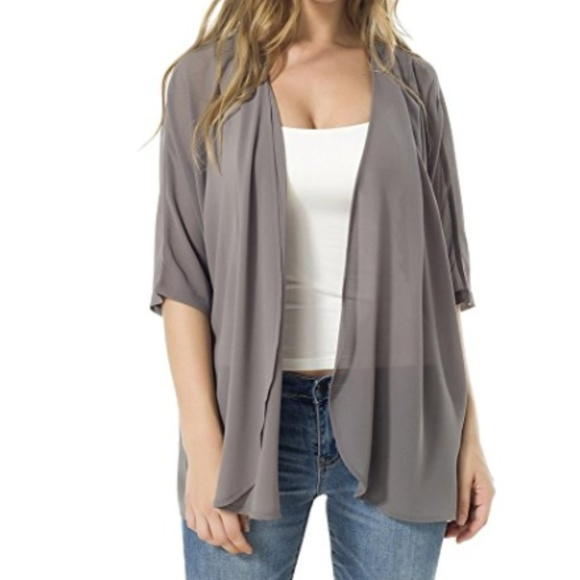 50% off Sweaters - Grey Chiffon Cardigan from Emily's closet on ...