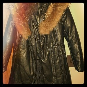 Other - Young  Girls 3/4 Leather Bomber coat