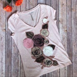 LC Pink Slub Floral Tee