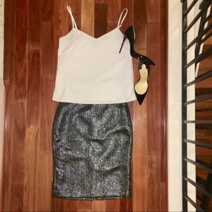 BR Silver Pencil Skirt