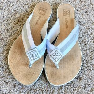 Chanel Wooden White & Silver Thong Sandals 37