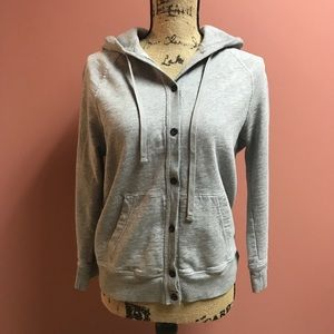 J. Crew Rumpled French Terry Hooded Sweat Jacket