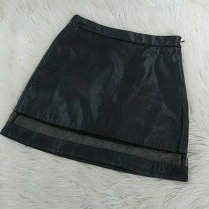 High waisted skirt, Faux leather & mesh trim