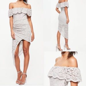 Missguided bardot asymmetric midi dress shoulder