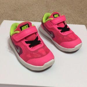 Toddler Girl Nike Hot Pink/Neon Volt Tennis Shoes