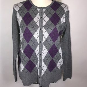 Croft & Barrow XL Cardigan Gray and Purple Argyle