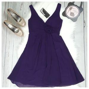 Purple Ruffle Cocktail Wedding Sleeveless Dress
