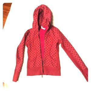 Lululemon Scuba hoodie red polka dot sweatshirt