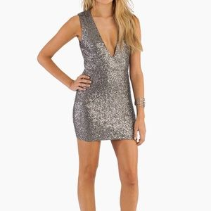 Tobi Silver Gwyn Sequin Bodycon Dress - Size S