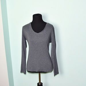Ann Taylor Steel Grey Stretch Blouse
