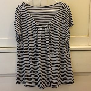 Worthington 🎄 Black and White Striped Blouse 2X