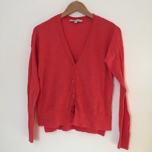 Loft • Coral Cotton Cardigan