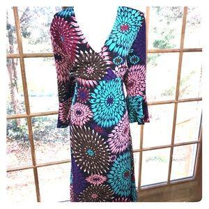 Yansi Fugel Bell Sleeve Floral Silk Dress Size L