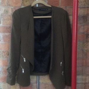 Green zara blazer drape front and zippers