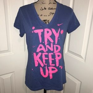 Nike blue fitted short sleeve graphic tee