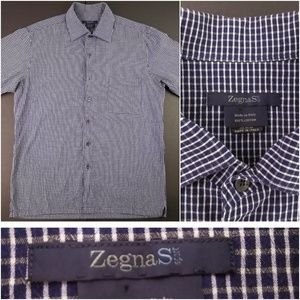 Zegna Sport Mens Large Blue Button Front Shirt