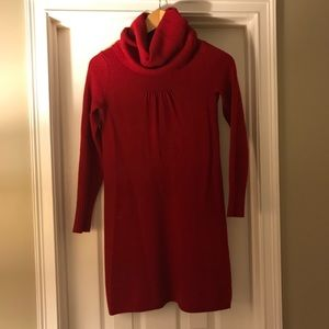 Red Cowl Neck Sweater Dress from Banana Republic
