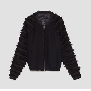 Brand new Zara fringe bomber with tag
