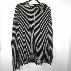 AMERICAN APPAREL Striped Hooded Long Sleeve