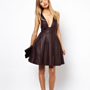 Asos leather skater dress