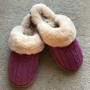 UGG Plush Cable Slippers Pink Sz 10